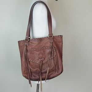 Lucky Brand Leather boho fringe purse